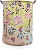 speelgoed opbergmand kinderkamer - Flamingo's - Opbergmand met handvatten - Wasmand voor Kinderkamer of Babykamer - Canvas - Opbergzak Speelgoed