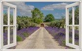 PB-Collection - Tuindoek doorkijk Raam Lavendel Deur - 70x110cm - Tuinposter - Tuin decoratie - Tuinposters buiten – Tuinschilderij – Poster Buiten – Buitencanvas – Tuinbanner