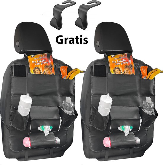 Afbeelding van Luxergoods Stevige Autostoel Organizer met Tablet Houder - Set van 2 - Auto Stoel Organiser - Inclusief 2 Gratis Autohaken