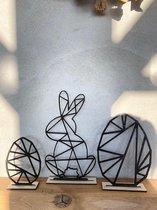 Paasdecoratie /   met 2 x ei en 1x paashaas in het zwart / Pasen / Paasei / Paaseieren / paasversiering / geometrisch