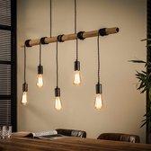 Livin24 Industriële hanglamp Kian 5-lichts bamboe