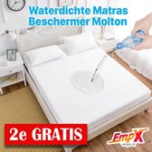 2x Waterdicht Matrasbeschermer 90x200 - Hoeslakenbadstof - Elastiek - Wit - Waterdicht