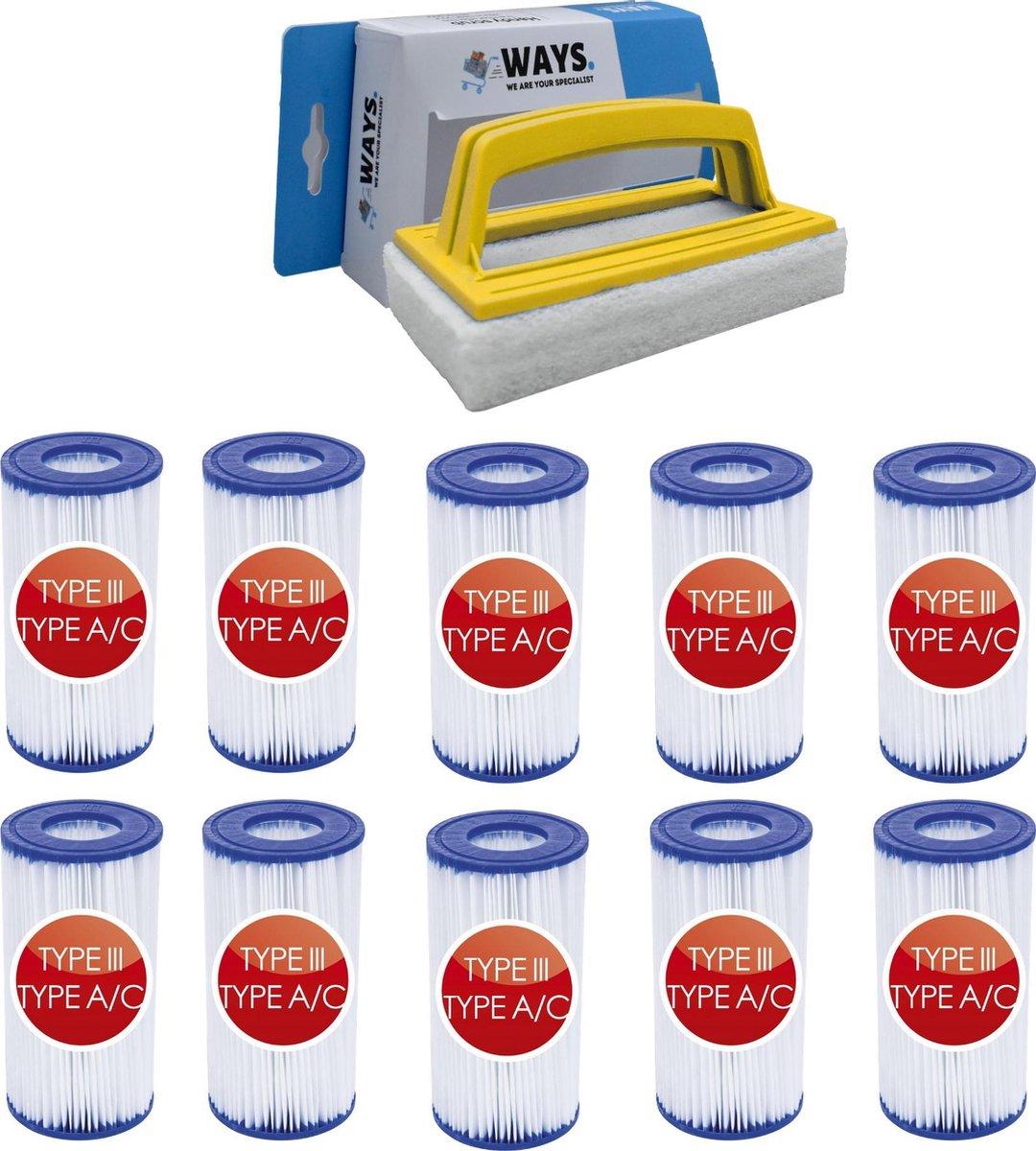 Bestway - Type III filters geschikt voor filterpomp 58389 - 10 stuks & WAYS scrubborstel