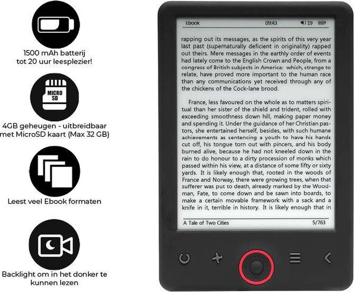 "Denver EBO-635L Ebook reader - E reader - E books Nederlandstalig - 4GB + MicroSD tot 32GB - 6"" A grande Carta - Displaylicht - Zwart"