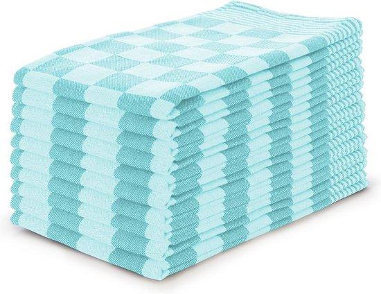 Theedoekenset Blok Turquoise - 65x65 - Set van 10 - Geblokt - Blokdoeken - 100% katoen - Horeca Theedoeken