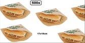 500x Snack zakje papier kraft 17x18cm - hamburger zak hip broodje festival themaparty festival carnaval
