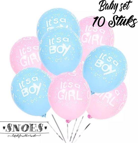 Snoes * Set van 10 Ballonnen * Geboorte * Hoera een Meisje / Jongen * It