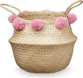 Camcam belly basket White 30x38 zeegras mand met pompoms