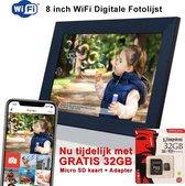 Innovu Felia Digitale Fotolijst met WiFi, 8 inch, Touchscreen, Frameo App,Zwart, Gratis 32GB SD Kaart