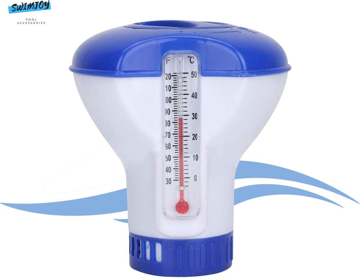 Swimjoy Chloordrijver met Thermometer voor een schoon zwembad - Verstelbare Chloordispenser - Chloortabletten houder - Chloorverspreider - Temperatuurmeter