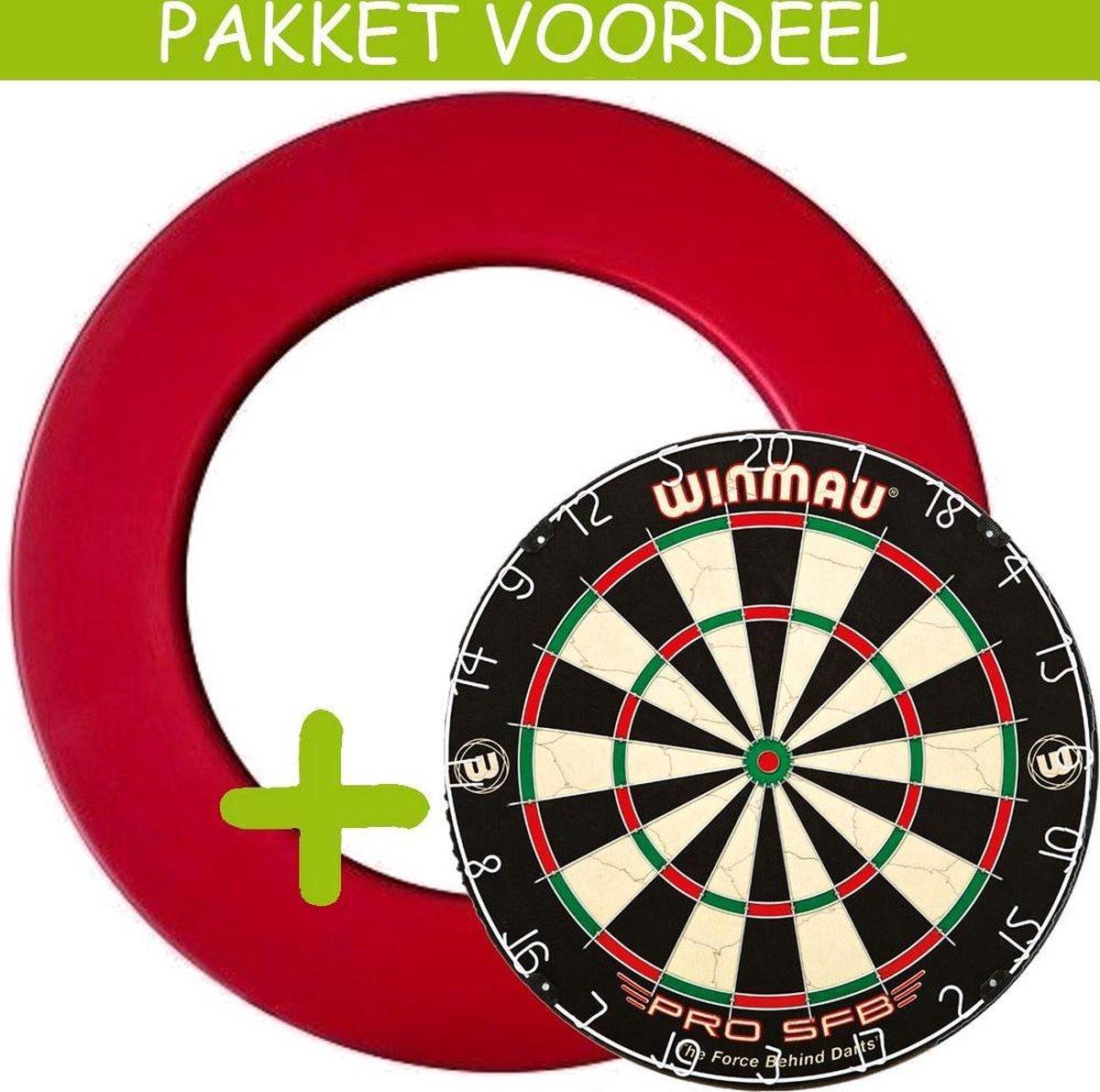 Dartbord Surround VoordeelPakket - Pro SFB - Rubberen Surround-- (Rood)