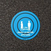 2x Houd 1,5 meter afstand - Vloersticker - Blauw - Indoor - Diameter 40 cm