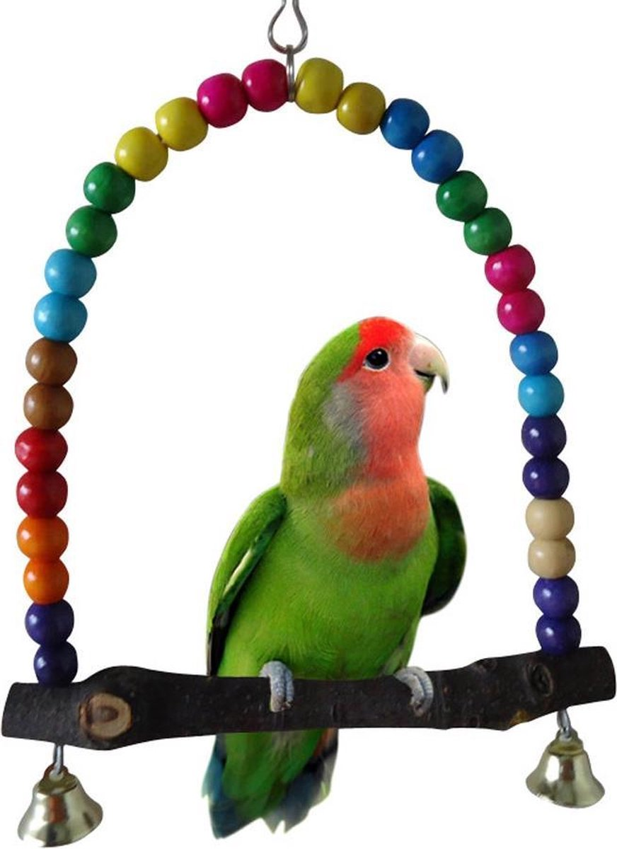 Vogel Schommel Hout - Kralen - Belletjes 10 x 13,5 cm - Vogelkooi - Parkieten Speelgoed - Kanarie