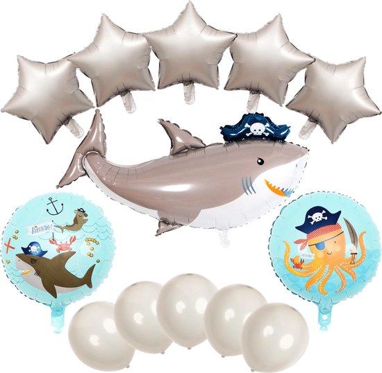 Piraten Feestartikelen - Piraten Ballonnen - Haai Ballonnen - 13 Stuks - Folieballonnen - Ballonnen Verjaardag - Haaien - Haaien Speelgoed