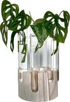 Stekstation XL | 9 reageerbuisjes in blank hout voor stekjes, bloemen of droogbloemen | Vaas om te stekken | Hydroponie