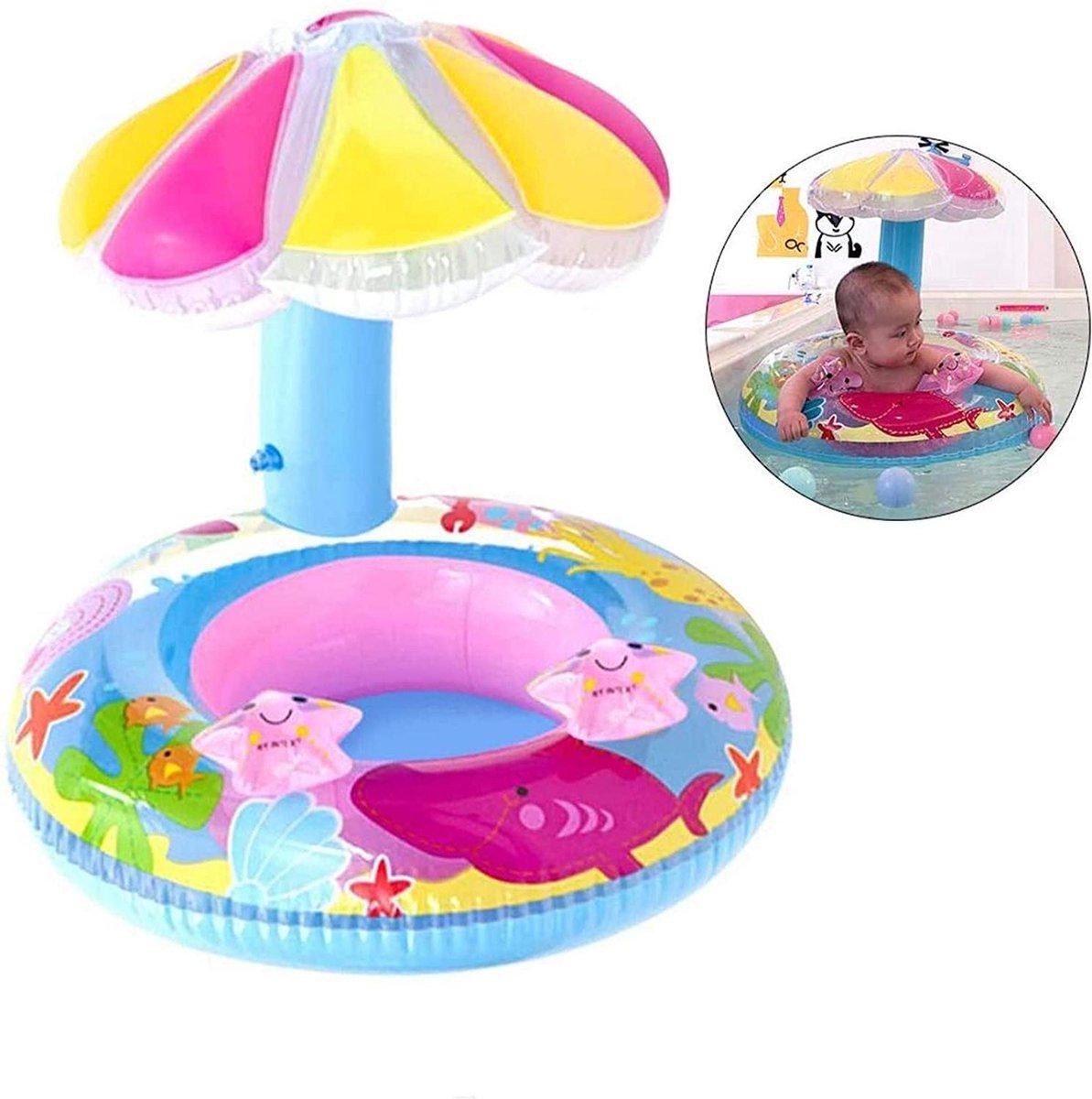 Babyzwemring met zonnedak - Baby float - Opblaasbare kinderboot - Zwemhulp babyzwembad - Opblaasbare zwemring - Zwemstoel