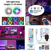 LED Strip Verlichting - 15 meter - Multi Color - RGB - Zelfklevend - incl. App en Afstandsbediening – met Dimfunctie - voor Binnen - Slaapkamer - Woonkamer -Gameroom - 12 Volt IP20 - 20 LED chips per meter