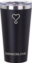 KICKSTARTER BLACK - Drinkbeker met rietje  - RVS - 480 ml - Zwart