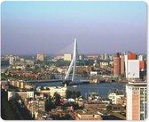 Muismat - Mousepad - Luchtfoto van de Erasmusbrug in Rotterdam - 23x19 cm