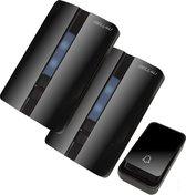 Bell4U® Luxe draadloze deurbel, waarbij batterijen niet nodig zijn - plug & play - 2 ontvangers - Zwart