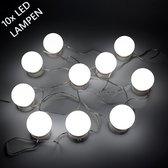 Make Up Spiegel - 10 Beauty LED Lampen - 5 lichtkleuren - Visagie - Hollywood Spiegel - Sfeerverlichting - 4 Meter - USB - Dimmer - RGB kleurrijk & Wit Licht