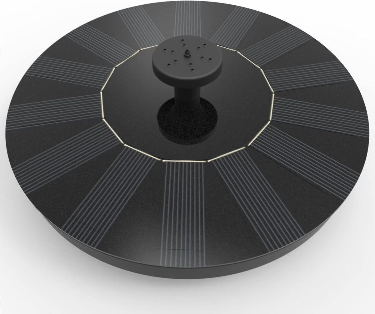 Hom lle Solar Fontein - Fontein op zonne-energie - 8 sproeikoppen - Tuin - Zwembad - Pomp - Vijverde