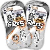BIC Flex5 Heren Wegwerp scheermesjes - Bundel van 2 Verpakkingen van 3