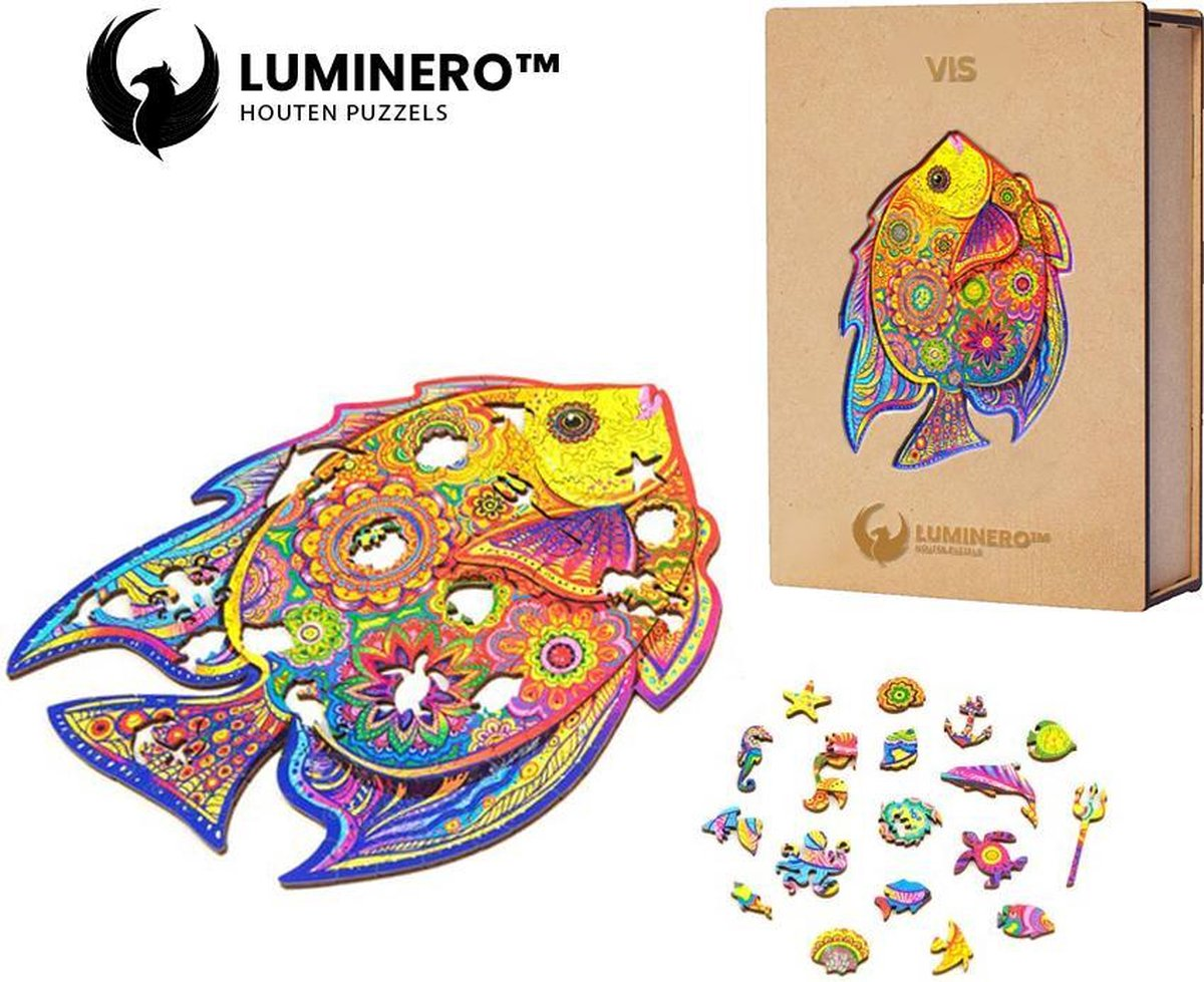 Luminero™ Houten Vis Jigsaw Puzzel - A3 Formaat Jigsaw - Unieke 3D Puzzels - Huisdecoratie - Wooden Puzzle - Volwassenen & Kinderen - Incl. Houten Doos