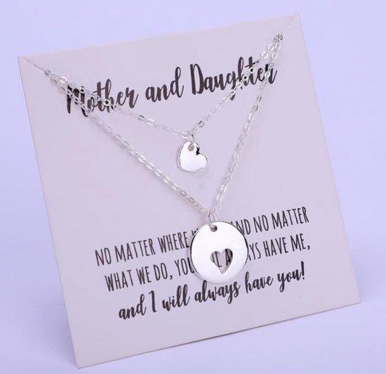 Ketting - Zilveren hart ketting - Moederdag - Moederdagcadeau - Moeder en dochter - verjaardag