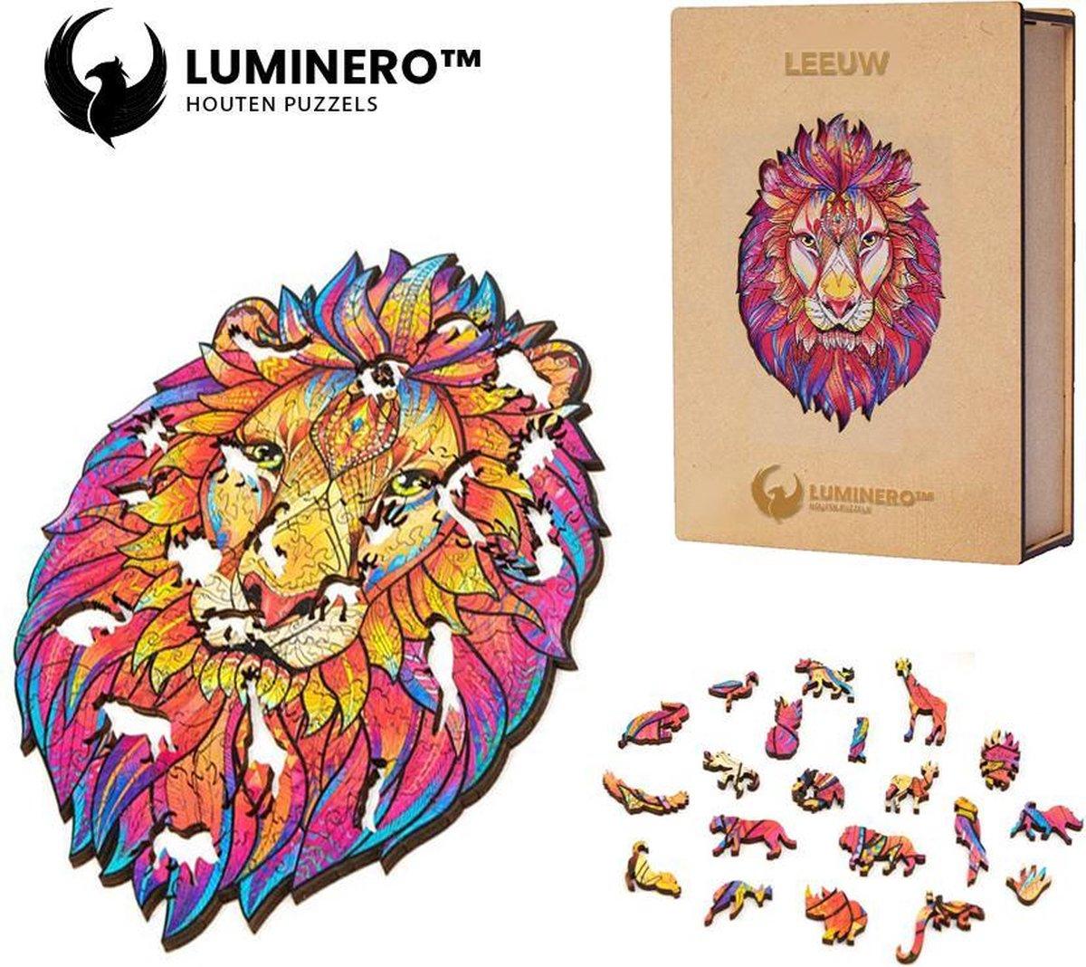 Luminero™ Houten Leeuw Jigsaw Puzzel - A3 Formaat Jigsaw - Unieke 3D Puzzels - Huisdecoratie - Wooden Puzzle - Volwassenen & Kinderen - Incl. Houten Doos