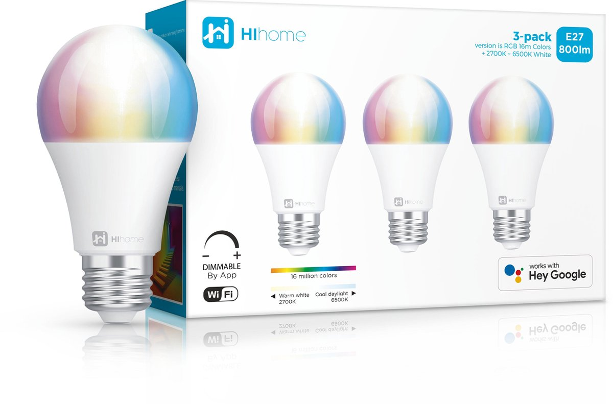 3-pack Hihome Smart LED WiFi lamp RGB 16M kleuren + Warm Wit 2700K to Koel Wit 6500K