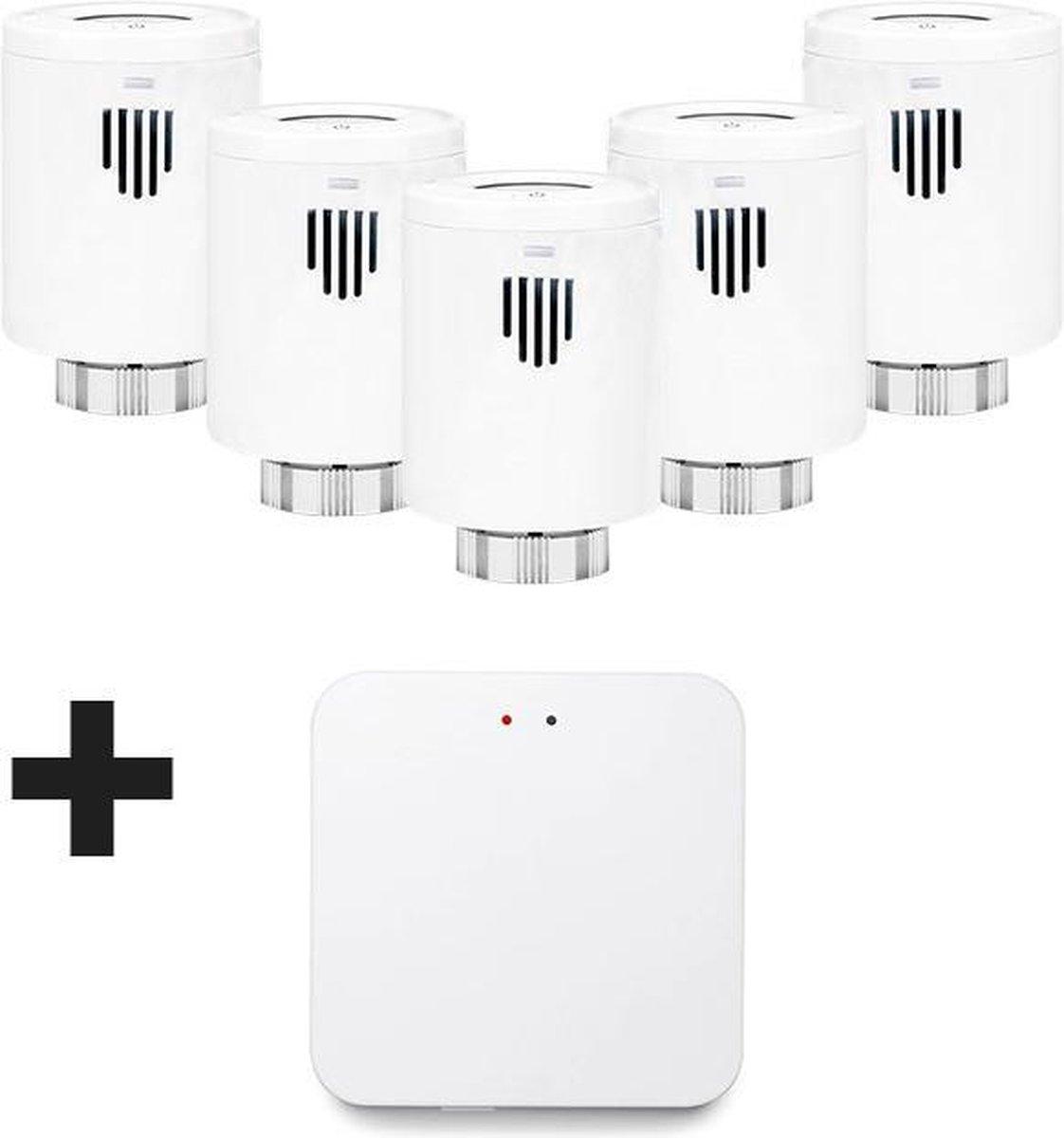 Evanell° Slimme Thermostaat Starterskit Incl. 4 extra Radiatorknoppen - Thermostaatknop Werkt met Google Home en Alexa