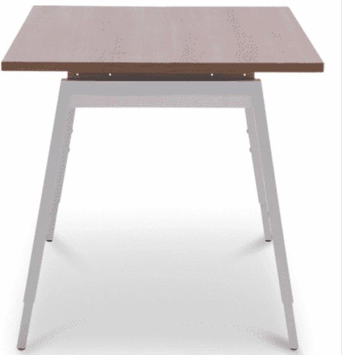 Recht Bureau Design-Line - 120 x 80 Cm - 72 Cm Hoog - Ideaal Voor Kleinere Ruimtes - Luxe Design Uitstraling - Bureau - Kersen Havanna Tafelblad - Aluminium Onderstel