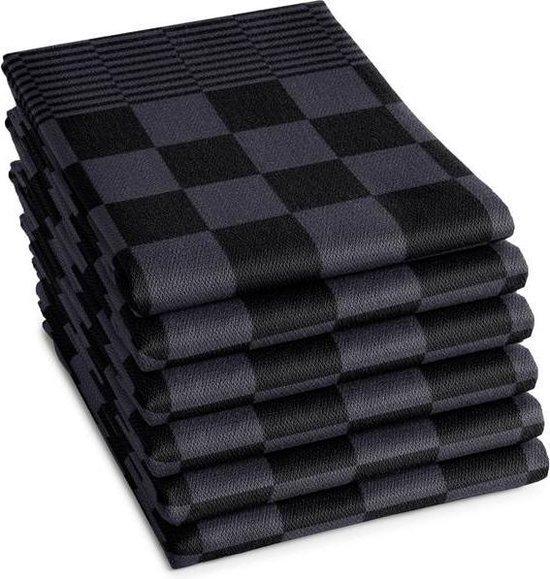 THEEDOEKEN - Set van 6 Stuks - 100% KATOEN - 65x65cm - Antraciet - Sneldrogend - Horecakwaliteit - Geblokt - Droomtextiel