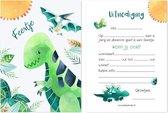 Uitnodiging Kinderfeestje Dino - Verjaardag - Dinosaurus Uitnodigingskaarten - Jongen - 10 stuks