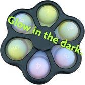 Q-time - Pop It Fidget Toy GLOW IN THE DARK - 2 IN 1 - Simple Dimple - Fidget Spinner - Gezien op Tik Tok - 5 KLeuren