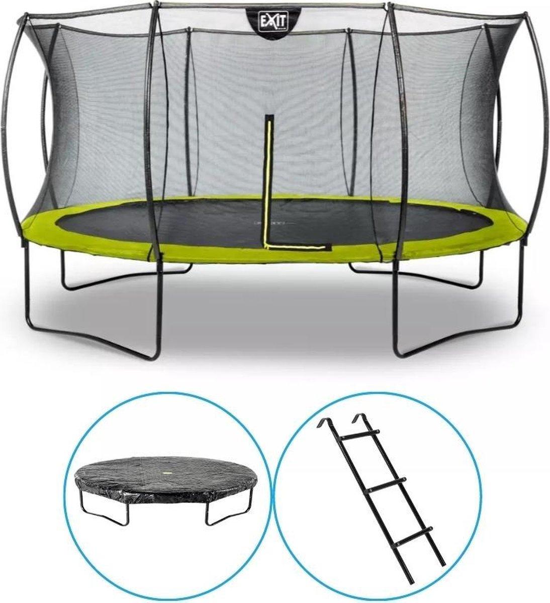 EXIT Toys - Trampoline Met Veiligheidsnet - Op Poten - Silhouette - Rond - ø427cm - Groen - Inclusief Ladder en Afdekhoes