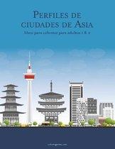 Perfiles de ciudades de Asia libro para colorear para adultos 1 & 2