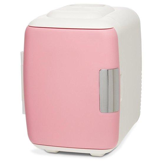 Koelkast: LifeGoods Mini Koelkast - 4 Liter - Make-Up en Beauty Skincare - 100/240V / 12V Auto Stekker - Wit/Roze, van het merk LifeGoods