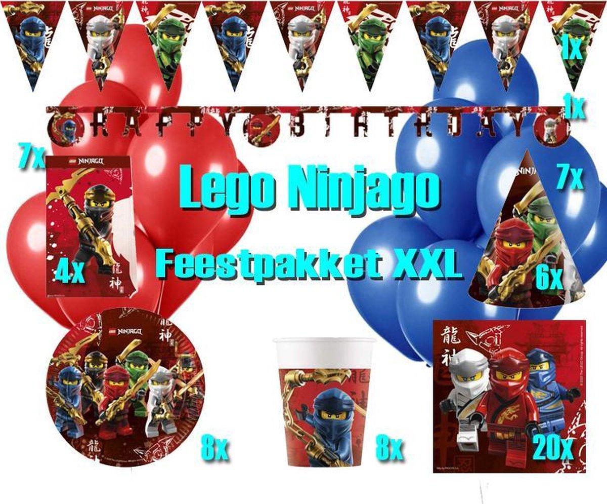 Lego Ninjago Versier Pakket XXL | Mega versier pakket Lego Ninjago | Lego kinderfeestje | Ninjago Bordjes Servetten Slingers Ballonnen Snoepzakjes Bekertjes Hoedjes