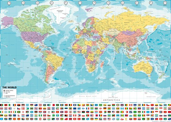 Wereldkaart  poster - 70x100cm -groot- print 2021 - mooi en luxe stevig papier -  UV lak  - Multi