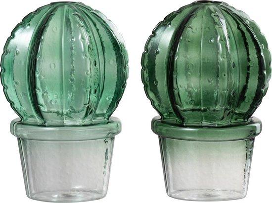J-Line Vaas Cactus Pot Bol Glas Mix Groen Assortiment Van 2