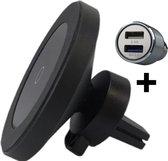iSetchi Telefoonhouder Auto Met Draadloze Oplader (15W Snellader Zwart) - Autolader inclusief 12V Quick Charge Oplader - Magnetisch - Android - iPhone 8 , 10, 11, 12 & 13