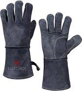 LUTCHOS - Warmtebestendige Ovenwanten - BBQ Handschoenen - BBQ Accessoires- Eco Leer - Katoen - Brandvertragend - Beschermend tot 500 ℃