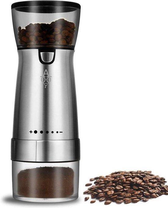 Elektrische Koffiemolen - Oplaadbaar - Zilver