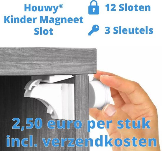 12 Magneet Kinderslot + 3 Sleutels - Houwy - Kinderslot Kastjes - Magneetslot - Slot - Magneet - Magneetslot - Kinderveiligheid - Baby - Veiligheid - Beveiliging - Kind - Kinder Magneetslot -  Onzichtbaar
