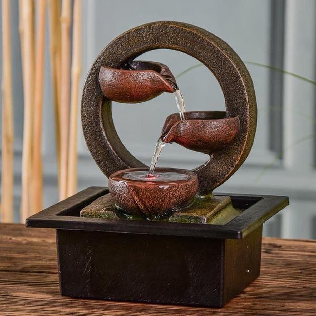 Zen Terai Relax - kamerfontein - fontein voor binnen - waterornament - binnenfontein - met ledverlichting