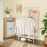 kledingrek, kapstok van metaal, met 2 kledingstangen, 1 plank, tot 70 kg belastbaar, eenvoudige montage, wit, RDR01WT