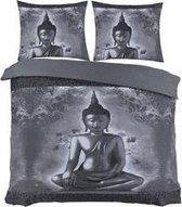 Cotton Club Dekbedovertrek Boeddha Grijs -  Lits Jumeaux - 240x200/220 cm + 2 kussenslopen 60 x 70 cm