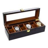Luxe Houten Horloge Box - Geschikt voor Horloges en Sieraden - 6 Compartimenten met 6 Kussentjes - Bruin